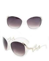 Overstock 1147 White Plastic Round Sunglasses