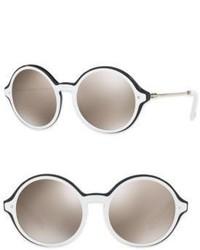 Valentino Garavani Rockstud 53mm Mirrored Round Sunglasses