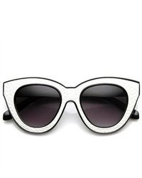ZeroUV High Fashion Block Cut Cat Eye Sunglasses