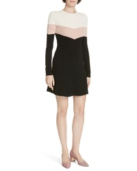 RED Valentino Colorblock Ribbed Fit Flare Dress