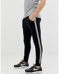 ASOS DESIGN Super Skinny Joggers With Taping In Black