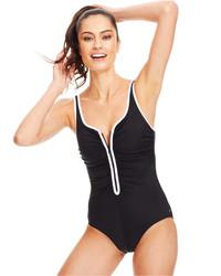 Reebok Contrast Piping Zig Zag Swimsuit