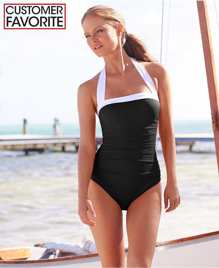 ... Lauren Ralph Lauren Tummy Control Ruched Halter One Piece Swimsuit ... 5d4ce556ab9d8