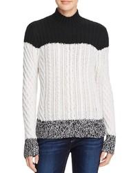 Aqua Cashmere Color Block Cable Knit Cashmere Sweater