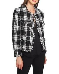 1 STATE Raw Edge Plaid Tweed Jacket