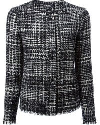DKNY Tweed Collarless Jacket