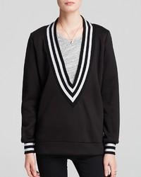 Sweatshirt v neck stripe trim medium 164154