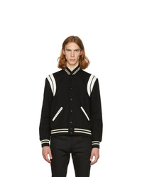 Saint Laurent Black And White Teddy Bomber Jacket