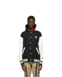 AAPE BY A BATHING APE Black Hooded Logo Bomber Jacket