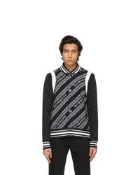 Givenchy Black Wool Jacquard Chain Bomber Jacket