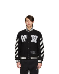 Off-White Black Wool Logo Varsity Bomber Jacket