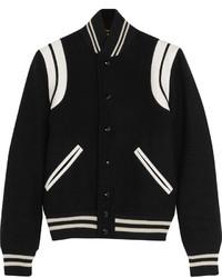 Leather trimmed wool blend bomber jacket medium 458061