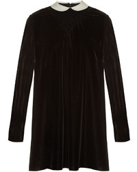 Contrast collar smocked velvet dress medium 5219507