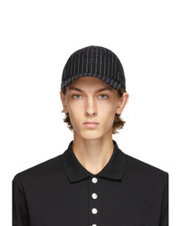 Balmain Black Wool Striped Cap