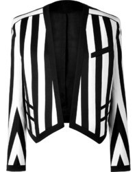 Balmain Blackwhite Striped Cotton Blend Open Jacket