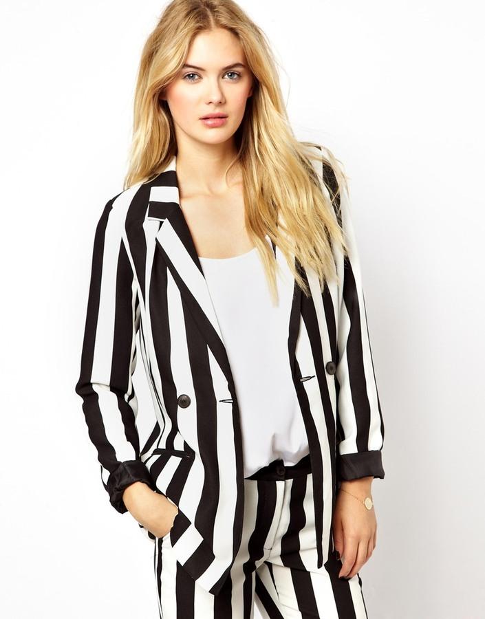Vila Stripe Blazer Jacket Where To How Wear Vertical Black And White