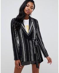 Miss Selfridge Tie Side Blazer In Stripe