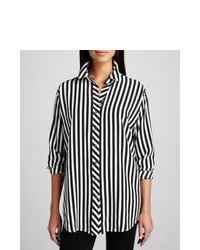 Black and White Vertical Striped Button Down Blouse