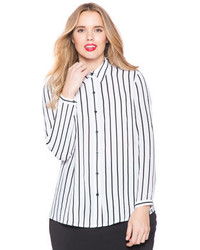 Eloquii plus size soft stripe oxford medium 608858