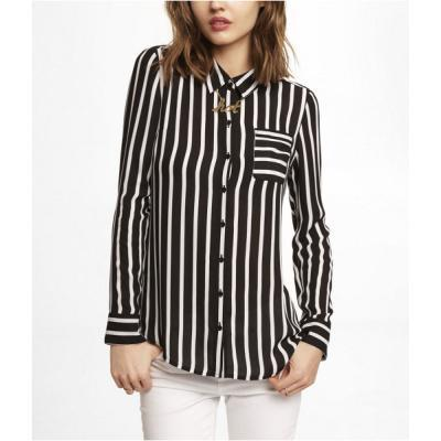43881bd23bdb Express Striped One Pocket Button Up Blouse Black Small, $49 ...