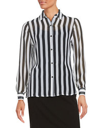 Imnyc isaac mizrahi striped chiffon blouse medium 608857