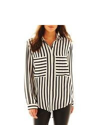 Allen B Long Sleeve Striped Blouse