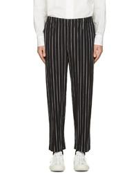 Homme pliss issey miyake black striped trousers medium 1253068