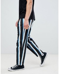 ASOS DESIGN Wide Balloon Trousers With All Over Stripe In Navy