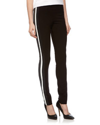 Fade To Blue Faux Leather Striped Ponte Pants Black