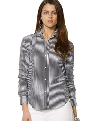 Black and White Vertical Striped Dress Shirt