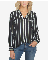1 STATE 1state Striped V Neck Shirt