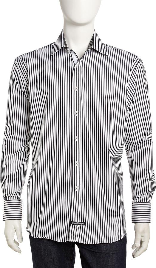 Black and White Vertical Striped Dress Shirt: English ...