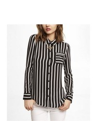 Express Striped One Pocket Button Up Blouse Black X Small
