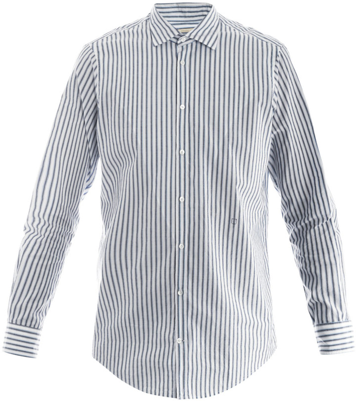 Black and White Vertical Striped Dress Shirt: Massimo Alba ...