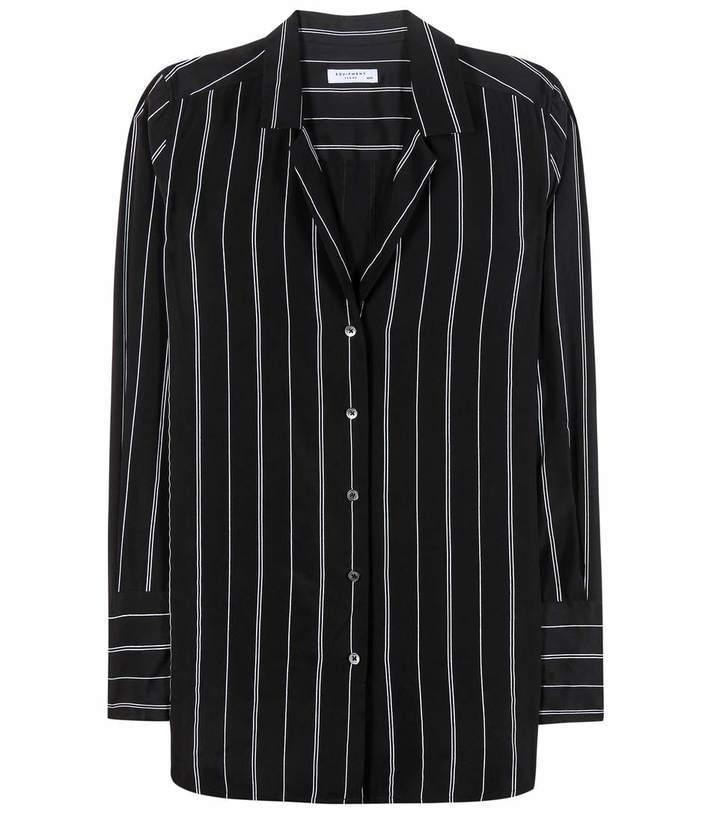 54b88d82ba2ca ... Black and White Vertical Striped Dress Shirts Equipment May Striped  Silk Shirt ...
