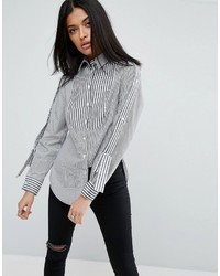 Asos Mix Stripe Shirt With Epaulette Detail
