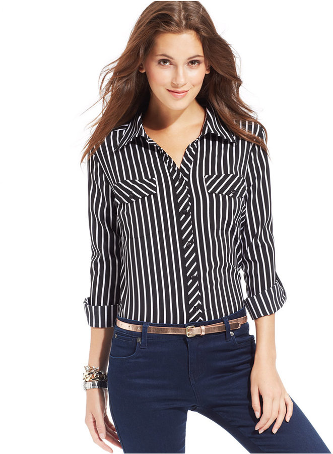 black and white vertical striped dress shirt ny
