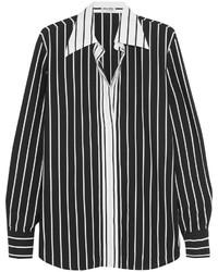 Miu Miu Striped Cotton Poplin Shirt Black