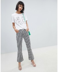 Mango Mono Stripe Kickflare Jean In Black And White