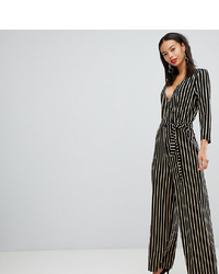 Y.A.S Tall Stripe Wrap Jumpsuit With Wide Leg