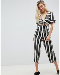 ASOS DESIGN Tea Jumpsuit With Cut Out And In Chain Print