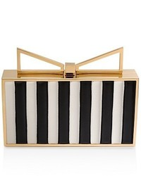Black and White Vertical Striped Leather Clutch