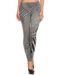 Black White Abstract Stripe Leggings