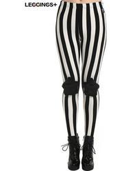 Romwe Five Star Patch Black White Vertical Striped Leggings