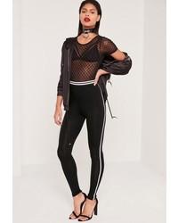 Missguided Side Stripe Jersey Leggings Black