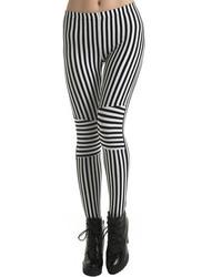 Romwe Vertical Striped Black White Leggings