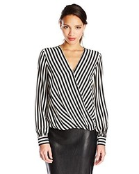 Black and White Vertical Striped Long Sleeve Blouse