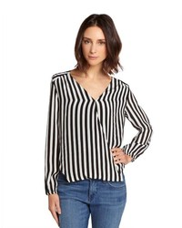 Black and white striped silk crossover blouse medium 278272