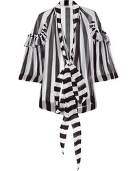 Blouse in black and white striped silk chiffon medium 278273