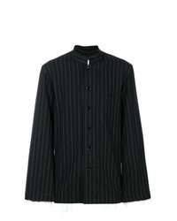 Black and White Vertical Striped Long Sleeve Shirt